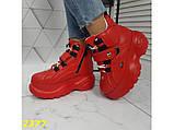 Кроссовки ботинки на высокой платформе зимние красные К2377, фото 8