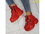 Кроссовки ботинки на высокой платформе зимние красные К2377, фото 5
