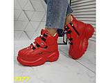 Кроссовки ботинки на высокой платформе зимние красные К2377, фото 3