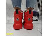 Кроссовки ботинки на высокой платформе зимние красные К2377, фото 7