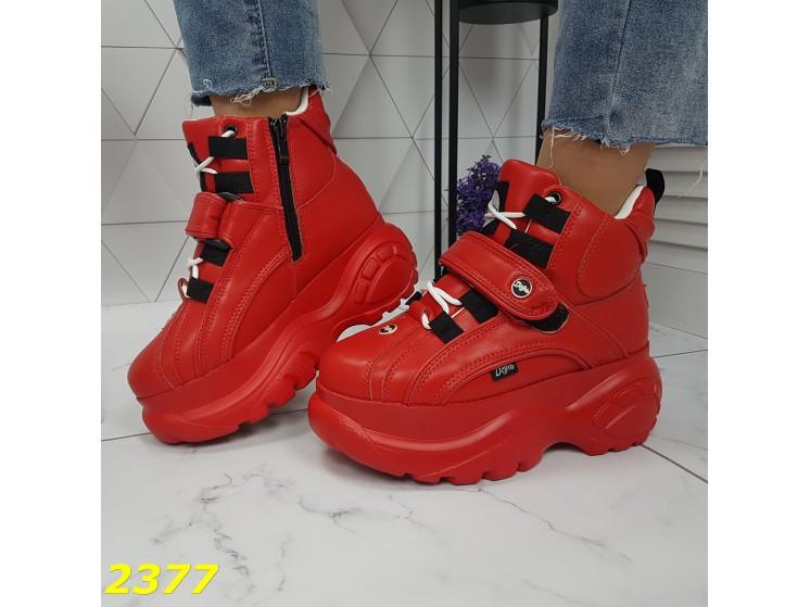 Кроссовки ботинки на высокой платформе зимние красные К2377