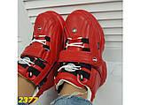 Кроссовки ботинки на высокой платформе зимние красные К2377, фото 9