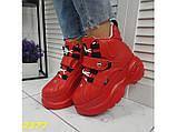 Кроссовки ботинки на высокой платформе зимние красные К2377, фото 6