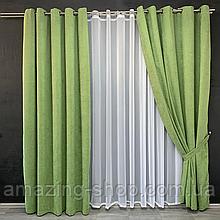 Комплект штор Petek на люверсах | Штори на люверсах | Шторы с подхватами | Зеленые шторы с подхватами |