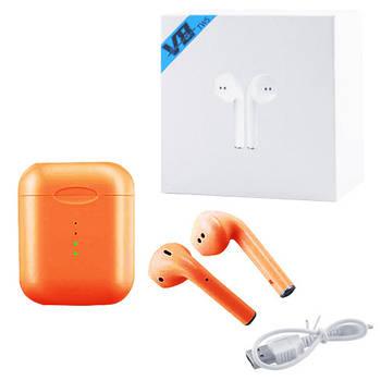 Беспроводные bluetooth-наушники вкладыши для телефона V8 5.0 с кейсом, orange
