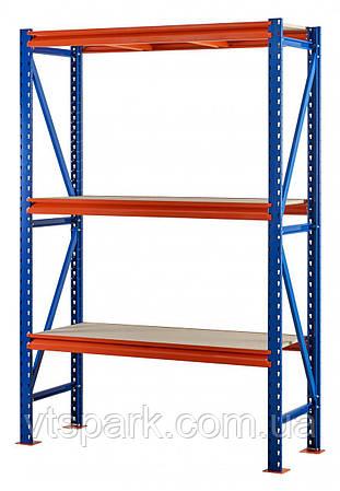 Стеллаж полочный 2500х1535х500 мм, 3 полки с ДСП крашеный для магазина, гаража, офиса