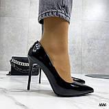 Жіночі туфлі чорні човники на підборах 10,5 см еко лак, фото 4