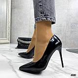 Жіночі туфлі чорні човники на підборах 10,5 см еко лак, фото 5