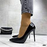 Жіночі туфлі чорні човники на підборах 10,5 см еко лак, фото 7