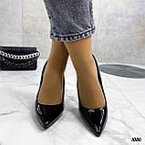 Жіночі туфлі чорні човники на підборах 10,5 см еко лак, фото 8