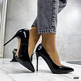Жіночі туфлі чорні човники на підборах 10,5 см еко лак, фото 6