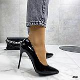 Жіночі туфлі чорні човники на підборах 10,5 см еко лак, фото 9