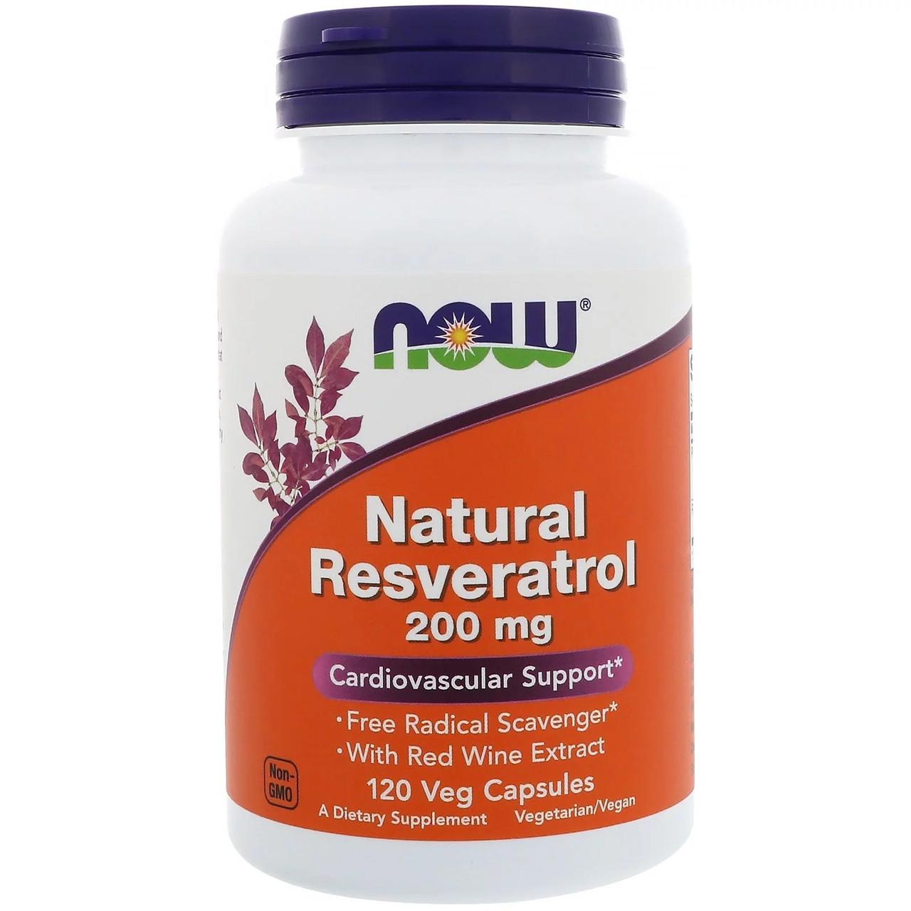 Now Foods Resveratrol USA Нау Фудс Натуральный ресвератрол от стресса 200 мг 120 растительных капсул