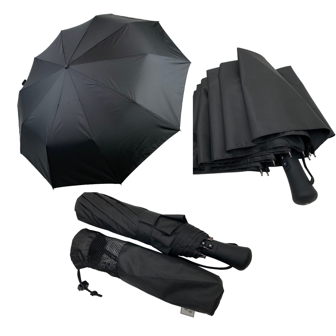 """Семейный зонт-автомат Silver Rain с прорезиненной ручкой и системой """"антиветер"""", черный, 201-1"""