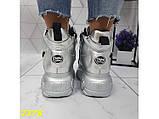 Кроссовки ботинки на высокой платформе зимние серебро К2378, фото 2
