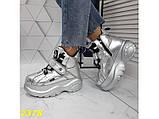 Кроссовки ботинки на высокой платформе зимние серебро К2378, фото 5