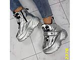 Кроссовки ботинки на высокой платформе зимние серебро К2378, фото 4