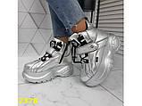 Кроссовки ботинки на высокой платформе зимние серебро К2378, фото 3