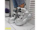 Кроссовки ботинки на высокой платформе зимние серебро К2378, фото 8