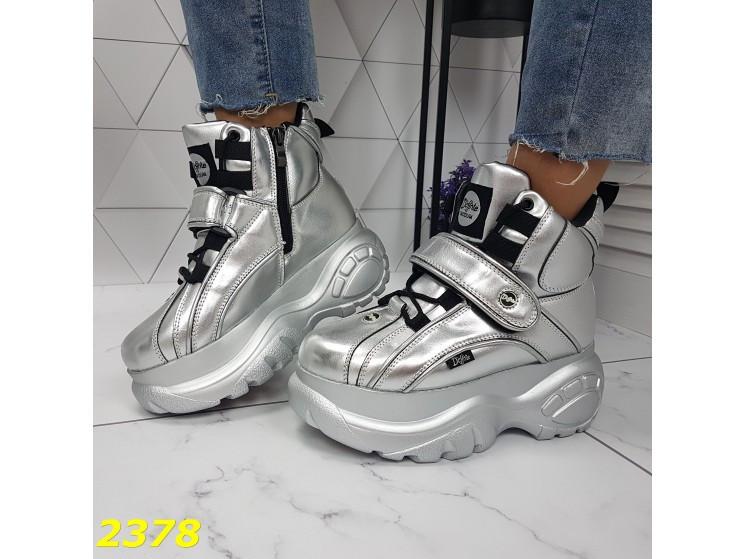 Кроссовки ботинки на высокой платформе зимние серебро К2378