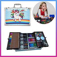 Набор для детского творчества в чемоданчике Единорог Голубой Двухъярусный кейс с красками для рисования