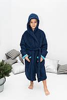 Стильный махровый халат темно-синего цвета на мальчика с носочками в подарок