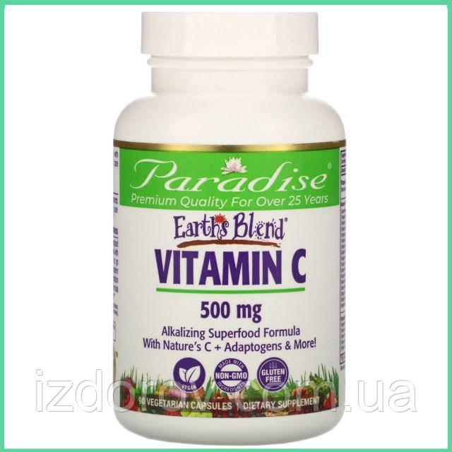 Paradise Herbs, Earth's Blend, Витамин С, 500 мг, 90 вегетарианских капсул