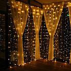 Гирлянда Штора светодиодная, 144 LED, Золотая (Желтая), прозрачный провод, 1,5х1,2м., фото 2