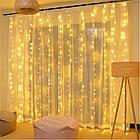 Гирлянда Штора светодиодная, 144 LED, Золотая (Желтая), прозрачный провод, 1,5х1,2м., фото 3