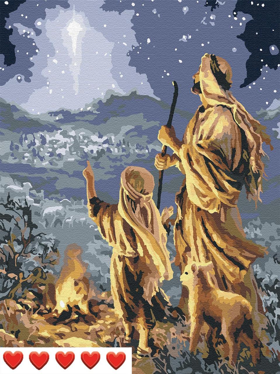 Картина по номерам (рисование по цифрам, живопись) 0040Л1 (Звезда и пастухи)