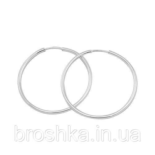 Серебряные серьги кольца диаметр 2,9см