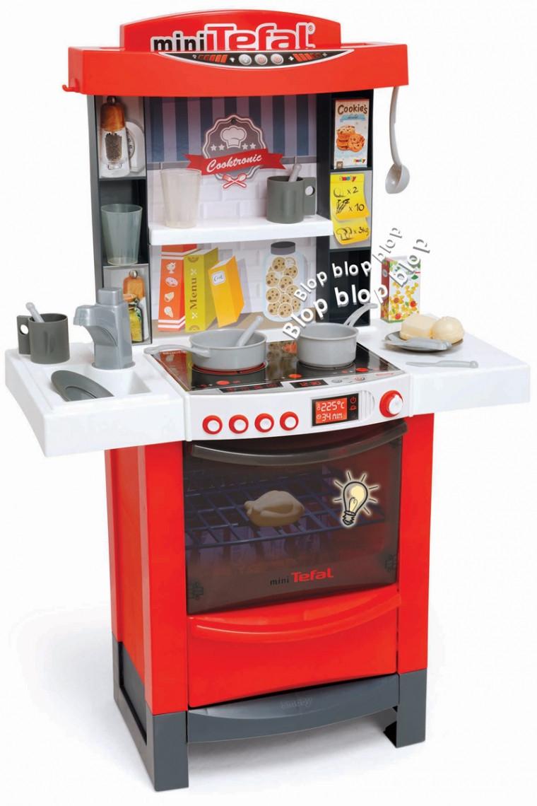 Интерактивная кухня Тефаль Мастер-Шеф Smoby MiniTefal Cooktronic с аксесс.,со звук. и свет. эффек, красная, 3+