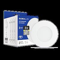 LED світильник GLOBAL SPN 3W тепле світло (3шт. в уп) (3-SPN-001-З)