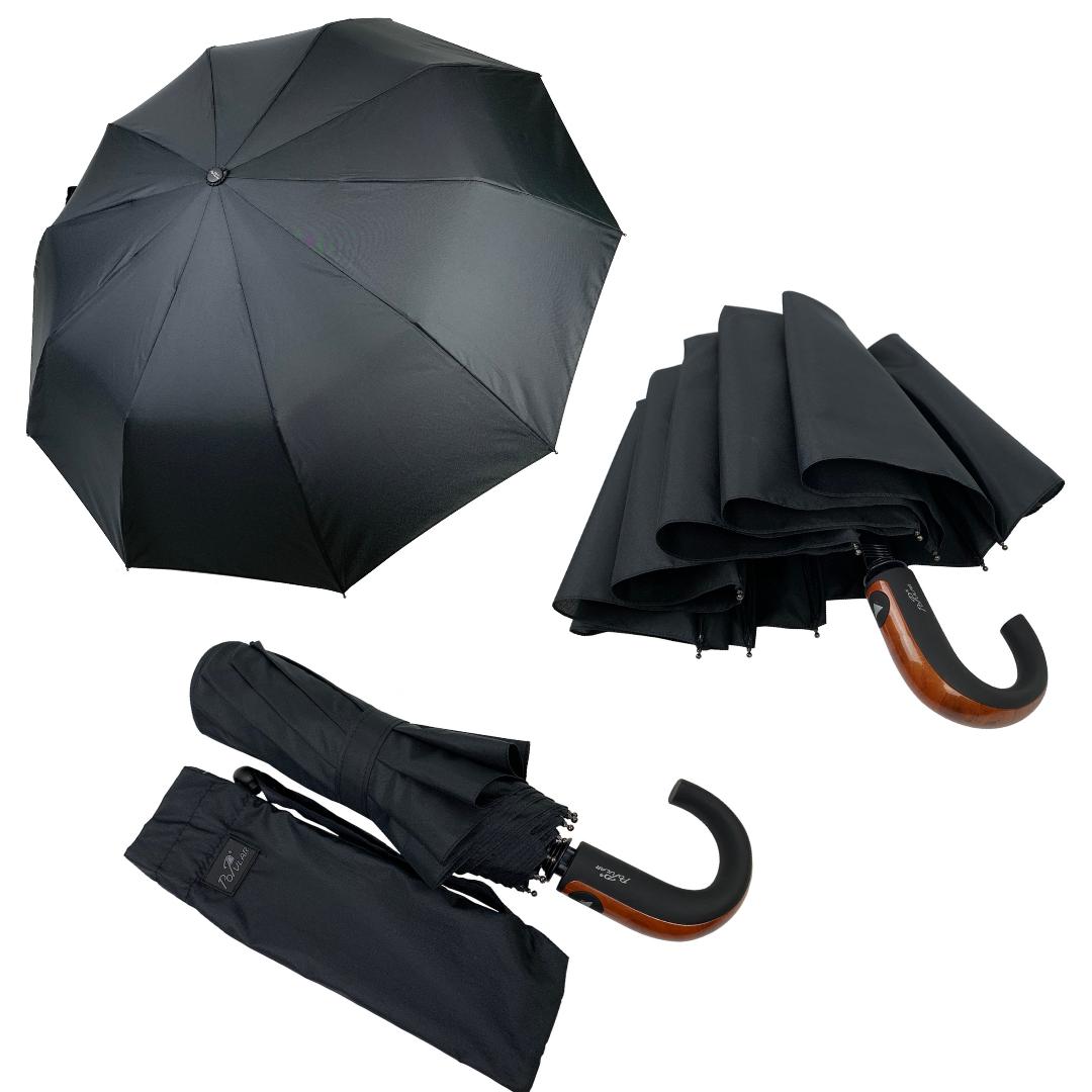 Мужской складной зонт-полуавтомат с ручкой крюк от Popular, есть антиветер, черный, 1048-1