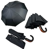 Мужской складной зонт-полуавтомат с ручкой крюк от Popular, есть антиветер, черный, 1048-1, фото 1