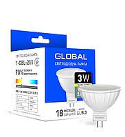 Світлодіодна лампа Global 3W MR16 тепле світло GU5.3