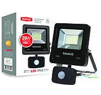 Светодиодный прожектор с датчиком движения MAXUS 20W, 5000K
