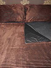 Комплект постельного белья Велюровый Полоска двухсторонний Коричнево - серый  евро размер