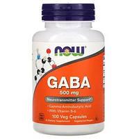 GABA, ГАМК (гамма-аминомасляная кислота) ГАБА,Now Foods, 500 мг, 100 растительных капсул, фото 1