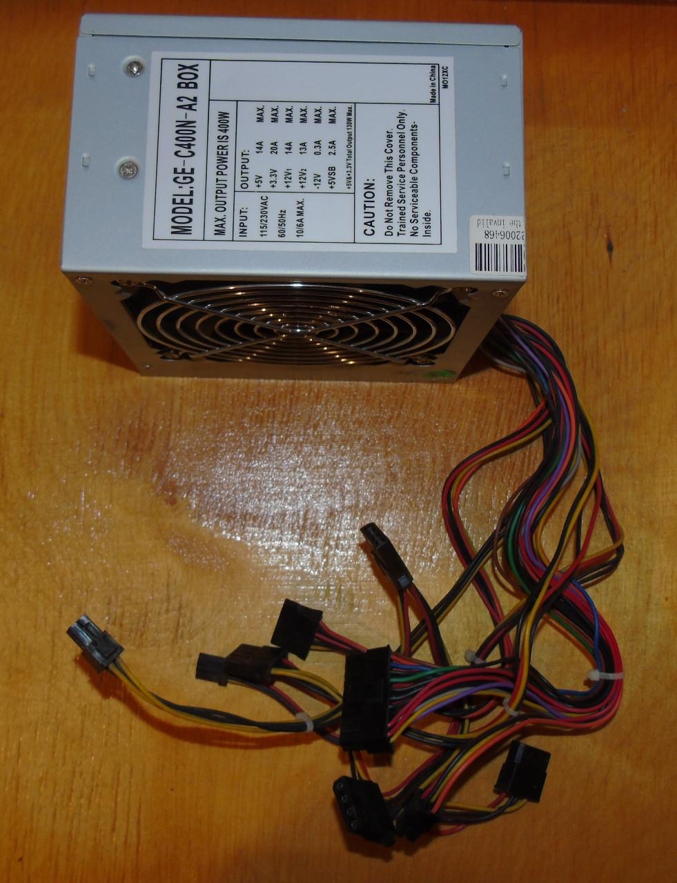 400W не дорогой блок питания ATX GE-C400N-A2 BOX