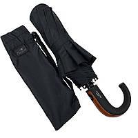 Мужской складной зонт-полуавтомат с ручкой крюк от Popular, есть антиветер, черный, 1048, фото 1