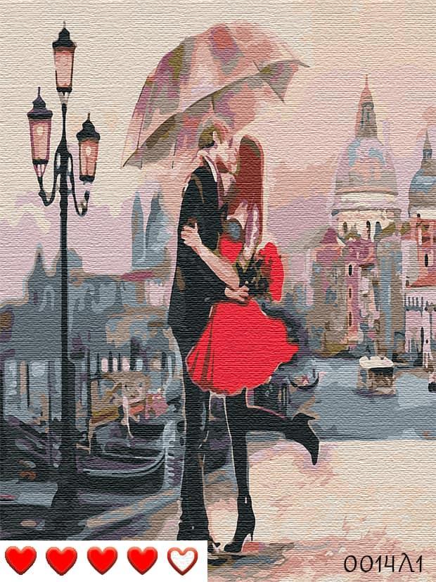 Картина по номерам (рисование по цифрам, живопись) 0014Л1 (Пара под зонтом)