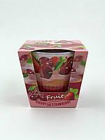 Свеча ароматизированная в стеклянном стакане, Bartek / Fruit Muffins - Cherry and Strawberry, 30 часов горения