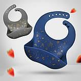Слюнявчик силиконовый с карманом Созвездие Серый, фото 2