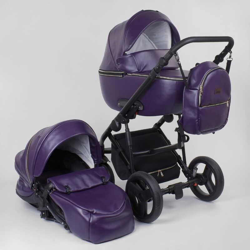 """Коляска уневерсальная 2 в 1 """"ROSY"""" №2040-04 (1) цвет темно-фиолетовый, материал эко-кожа"""