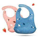 Слюнявчик силиконовый с карманом Полярный Медведь Розовый, фото 2