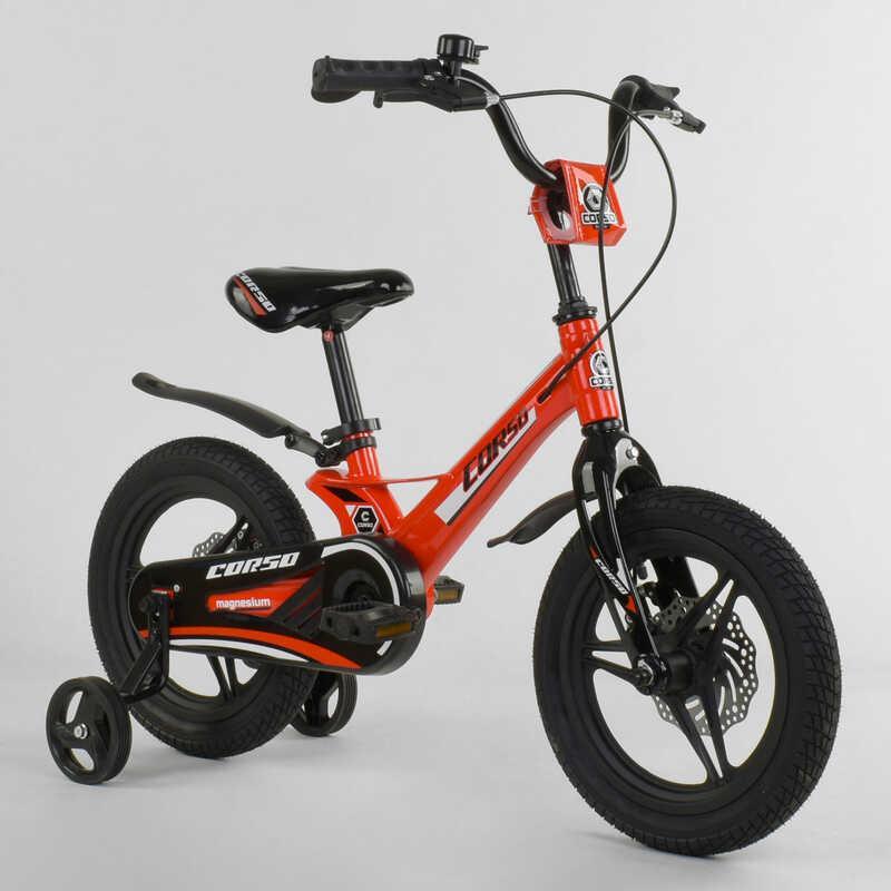 """Велосипед 14"""" дюймов 2-х колёсный  """"CORSO"""" MG-66936 (1) КРАСНЫЙ, МАГНИЕВАЯ РАМА, ЛИТЫЕ ДИСКИ, ДИСКОВЫЕ ТОРМОЗА"""