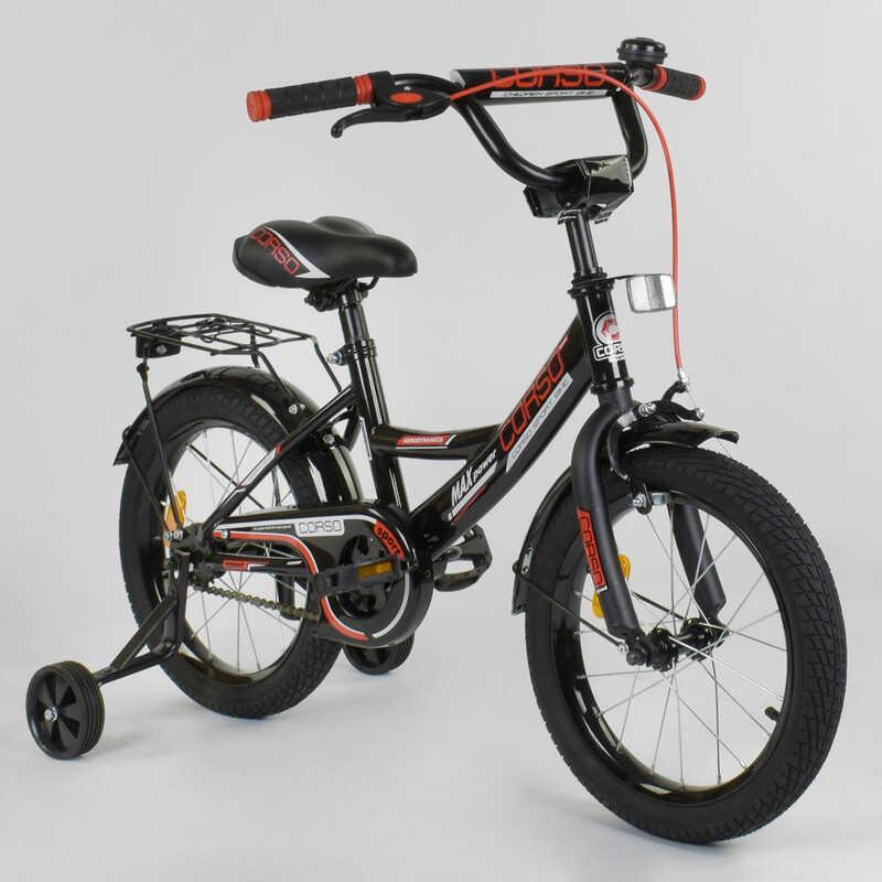 """Велосипед 16"""" дюймов 2-х колёсный  """"CORSO"""" CL-16 P 4482 (1)ЧЕРНЫЙ, ручной тормоз, звоночек, доп."""