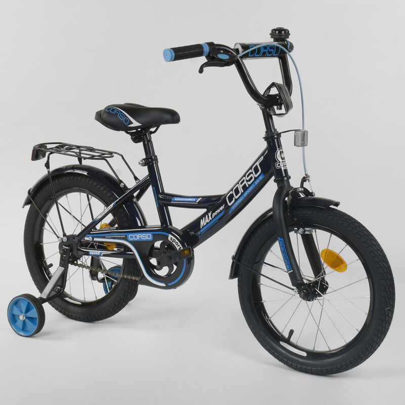 """Велосипед 16"""" дюймов 2-х колёсный  """"CORSO"""" CL-16 P 6633 (1) ЧЕРНЫЙ, ручной тормоз, звоночек, доп. колеса,"""