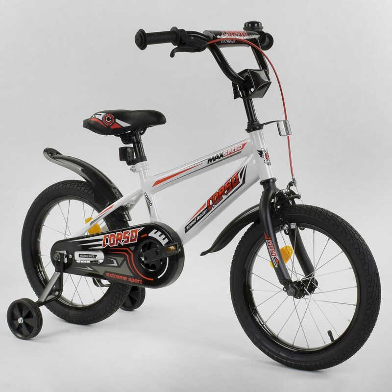"""Велосипед 16"""" дюймов 2-х колёсный  """"CORSO"""" EX-16 N 1803 (1) БЕЛЫЙ, ручной тормоз, звоночек, доп. колеса,"""